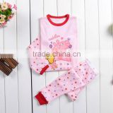 Children's Baby Girls Pink Cartoon Pig Sleepwears Suits cute kids pajamas wholesale SV004461