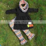 2-7t FALL/Winter kids OUTFITS 3 pieces scarf pant sets pumpkin Aztec girls Halloween boutique clothes kids brown top sets