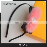 Fur accessory real mink fur hair hoop for kids fur fashion hair charm