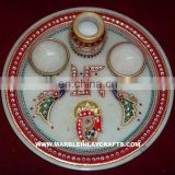 Decorative Marble Plate With Gold Painting, Corporate Gift