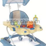 Round Plasitc Toy Out door Baby Walker With Push Bar and Canopy LW13-887C