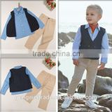 2015 European Style Handsome Boys Suit 3pcs Children Clothing Set t-shirt+waistcoat+jean pants Clothes Sets For boys