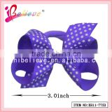 Polka dot grosgrain 3 inch ribbon bow fancy girls elastic hair bands (XH11-7753)
