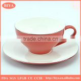 gold plated tea cup set delicate high quality grade fine stoneware coffee tea cup and saucer with platinum painting line