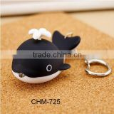 2016 Creative Gifts&Crafts Simulation Whale Key Chain Bag Chain Series LED Fashlight Plastic Cute DIY Charms