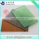 shahe tinted blue clear sun reflective glass factory price