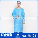 Universal Blue Disposable Nonwoven CPE Impervious Gown With Thumb Up Over Head And Open Back