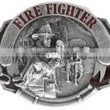 "Pewter And Enamel Displays A Scene Of Firemen Rescuing People From A Fire With The Words ""Fire Fighter"" Metal Fridge Magnet"