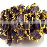 1 Feet Natural Purple Amethyst 8x9mm-10x12mm Rectangle Briolette Jewelry Making Handmade Loose Gemstone Connector Chain