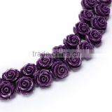 Nice Purple #51 Color Synthetic Turquoise Carved Rose Howlite Coral Flower Carving Loose Beads 20 pcs per Bag For Jewelry Making