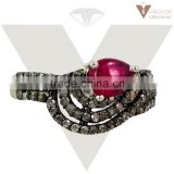 Pave Diamond Ring 92.5 Sterling Silver Beautiful Ruby Gemstone Ring, Wholesale New Listed Design Jewelry Supplier