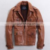 Leather Madness Brown Aviator Sheep Skin Leather Jacket,bomber design leather jackets for men