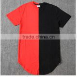 New design elongated high quality side zip t-shirt/Design Big Blank T-shirts