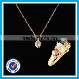 Artificial zircon crystal gold ring necklace 2pcs set elegant jewerly gold