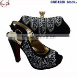 CSB1228 Latest beautiful design gold ladies shoes matching bags peep-toe sandals