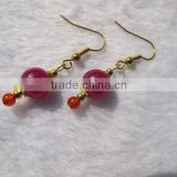 Pink gemstone dyed jade round beads Brass earring for women-silver plated earring unique jewelry design