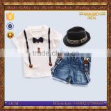summer short sleeve jeans bow tie wholesale fashion style boy clothing