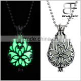 Glow in the Dark Openwork Teardrop Locket Pendant Necklace Blue and Green 2 Colors