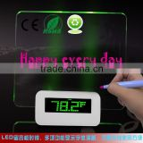 Mini LCD travel alarm clock with aluminium face, digital alarm clock with board for leaving a message