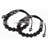 mens black crystals clay beads braided rope bracelets with healthy hematite beads