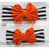 Hot sales Halloween Mommy and Baby elastic Big Bow Headband Set Children Boutique Cotton Headband
