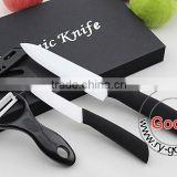 "BLACK 6""+ 4"" White Ceramic Knife + a Peeler Set 3pcs 4 inch Fruit 6 inch Chef Ceramic knife Set"