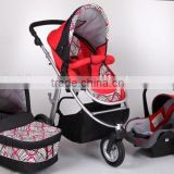 2015 baby stroller 3 in 1,5 point safety belt,3 position seat, one touch double brake fuction.