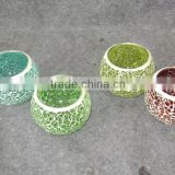 hand made crackle glass mosaic candle holder, mosaic jar, good for home decor, holiday gift, solar lamp, use in garden also
