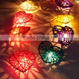 3.4 - 4 meters Handmade Multicolor Heart Design Rattan Balls String Lights For Decorative Holiday, Party, Wedding, Christmas
