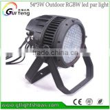 54*3W RGBW Led Par64 Can DMX512 8Ch Stage Lighting Led Par Lights 200W Power Led Par Lights Outdoor