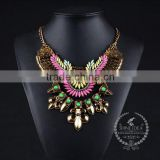 high quality vintage acrylic rhinestone chunky statement necklace tin alloy fashion women pendant necklace 6390098