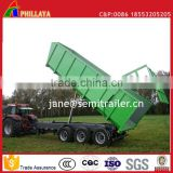 Full Type Drawbar Farm Agricultural Grain Tipper Rear Dump Trailer With Hydraulic Open Door