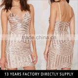 Fashion golden sequin bodycon casual dress 2016 Summer beautiful lady one-piece dress