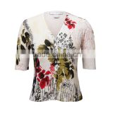 Old women cardigan sweaters with short sleeves and button closure, Floral printed sweater