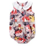 White Collar Bodysuit Vintage Black Floral Newborn Baby Clothes Romper Apparel