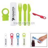 Plastic Utensil Set With Bottle Opener - utensils included are spoon, fork and knife and comes with your logo