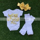 baby girls boutique clothing infant girl kids clothes white gold bus romper with matching headband and legwarmer set
