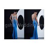 Sheath Stretch Sheer Bodice Celebrity Prom Dresses Beaded Sweep Train for Summer