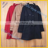 Custom Wool/Polyester Windproof Long Ladies Winter Coats