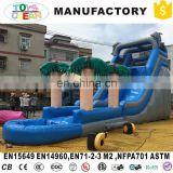 Used Coconut Trees Theme Inflatable Climbing Water Slide With Pool For Backyard