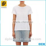 Wholesales China Casual 100% Cotton Custom White Simple Lady T shirt