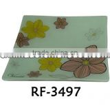 Wholesale Custom Floral Designed Promotion Decorative Modern Glass Plates