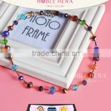 New Arrival High Quality Necklace Bezel Cup Chain with Colorful Beads and Crystal