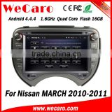 Wecaro WC-NM7043 Android 4.4.4 stereo double din for nissan march car dvd player with gps WIFI 3G 1080p