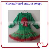 2016christmas flower long sleeve green children dress,naughty girl tutu outfits,kids one piece tops and skirts,toddler tutus