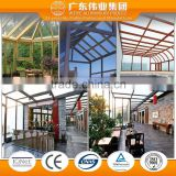 aluminium extrusion factory wood grain finsihed for winter garden/glass house/lowes sunrooms