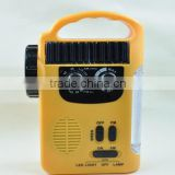 Lantern solar and hand crank dynamo flashlight with am/fm radio and moible phone charger