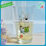 Machine Pressed Promotional Pint Glass Juice Cups Cartoon Rabbit Logo Fruit Juice Glass Cup Pint Kids Favor Pint Glass Cups