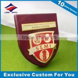 Wooden Wall Plaque With Customzied Metal Logo Wooden Shield Award