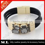 2014 Wholesale Leather rhinestone bracelet China Top 10 Fashion Jewelry Manufacture with supreme quality MLB 006